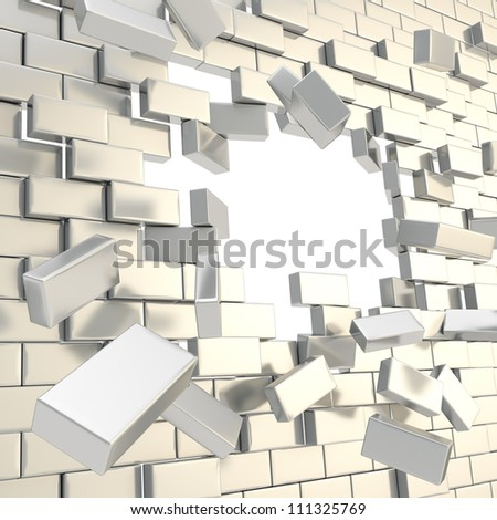 Broken into pieces chrome metal silver brick wall with a copyspace hole in center - stock photo
