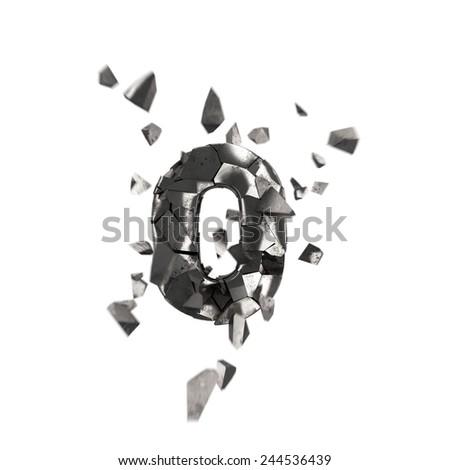 broken iron letter O - stock photo
