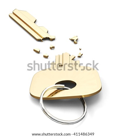 Broken key isolated on white background. 3d render image. - stock photo