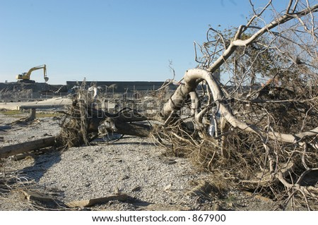 Broken Levee - 9th Ward New Orleans - stock photo