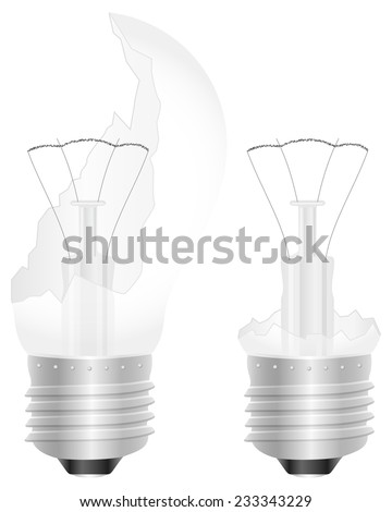 broken light bulb illustration.