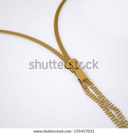 Broken lock zipper. 3d render of a gray background - stock photo