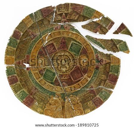 Broken Maya Calendar - stock photo
