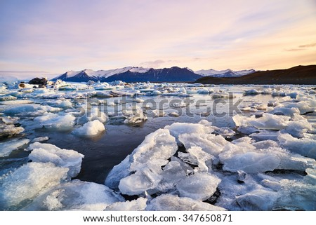 Broken melting pieces of ice at Jokulsarlon glacier Lagoon, stunning icy  scenery landscape in iceland