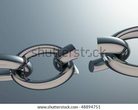 Broken metal chain - stock photo