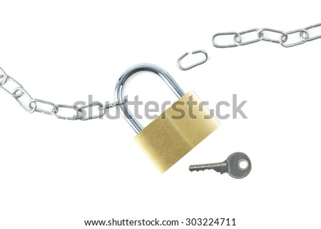 Broken metal chain, locked padlock and a key viewed from above, isolated on white background.