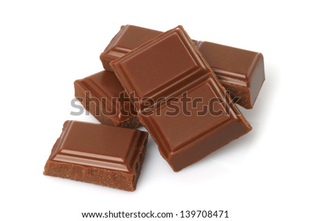 Broken milk chocolate bar isolated on white background