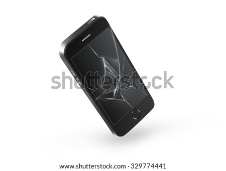 Broken mobile phone screen isolated. Smartphone monitor damage mock up. Cellphone crash and scratch. Telephone fail. Display glass hit. Device destroy problem. Smash gadget. Bad accident. Need repair. - stock photo