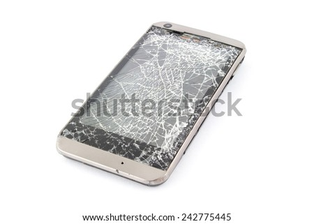 broken mobile smart phone. Isolated on white. - stock photo