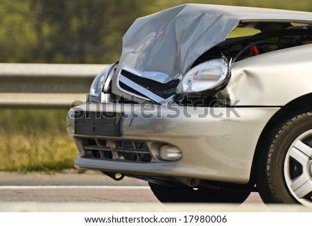 broken new car, detailed closeup - stock photo