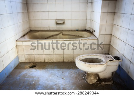 Broken Old Abandoned Dirty Toilet Bowl
