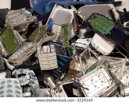 Broken old mobile phones - stock photo