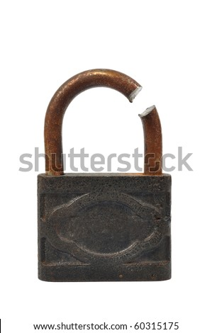 Broken padlock isolated on white bacground