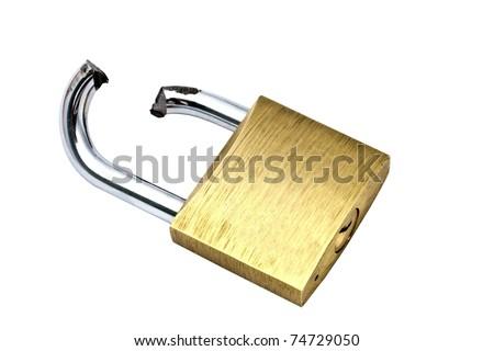 Broken padlock isolated on white background - stock photo