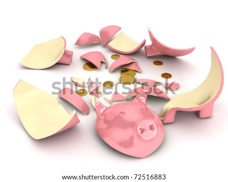 Broken piggy bank over white background. 3d rendered image - stock photo