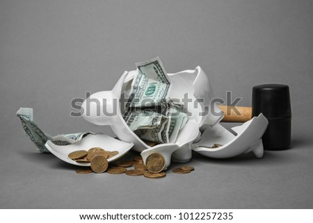 Broken piggy bank with money and hammer on gray background