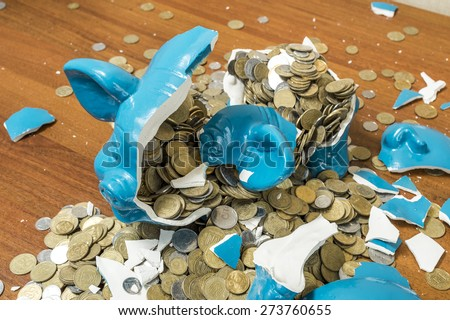 broken piggy piggy bank - stock photo