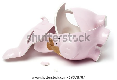 Broken piggy savings bank - stock photo