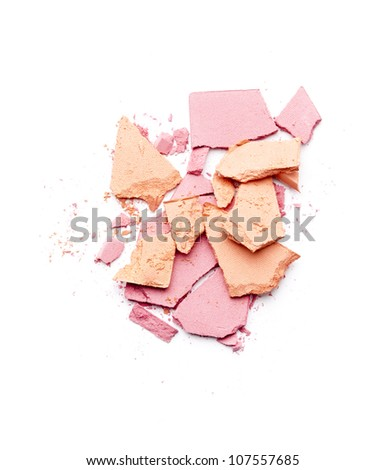 broken pink and orange eyeshadow isolated on white background