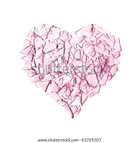 broken pink glass heart isolated on white background. complicated family life - stock photo