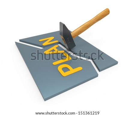 Broken plan big hammer as concept - stock photo