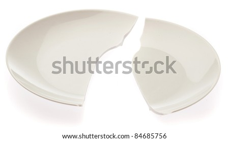 broken plate isolated on a white background - stock photo