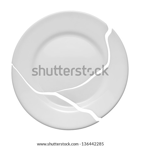 Broken plate on a white background. Metaphor of a family quarrel - stock photo