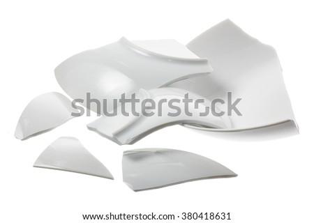 Broken Plate on White Background - stock photo