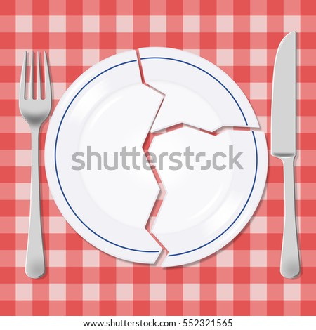 Broken plate with fork and knife on a picnic tablecloth