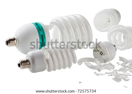 broken power saving up lamps isolated on a white background - stock photo