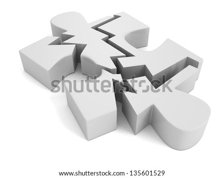 broken puzzle on a white background - stock photo