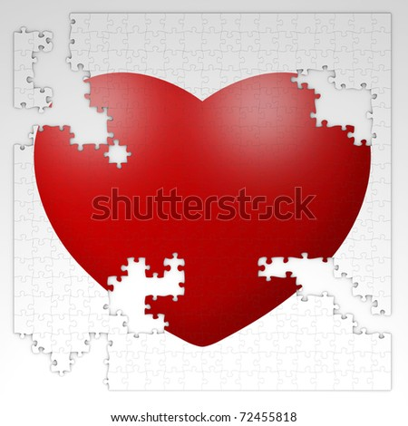 broken puzzle with red heart isolated on white background - stock photo