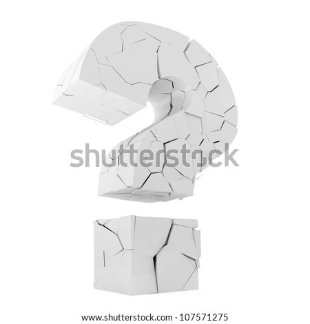 Broken Question Mark Symbol isolated on white background - stock photo