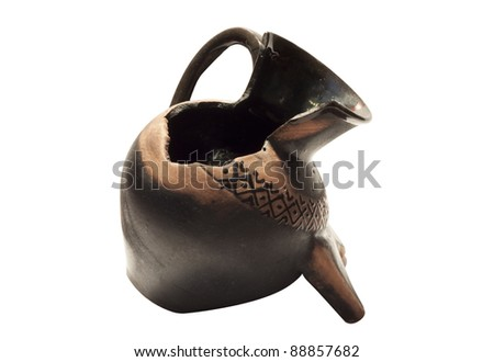 Broken Rare amphora isolated on the white background - stock photo