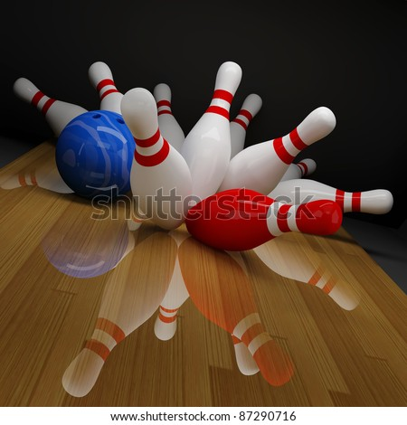 Broken red and white skittles in bowling - stock photo