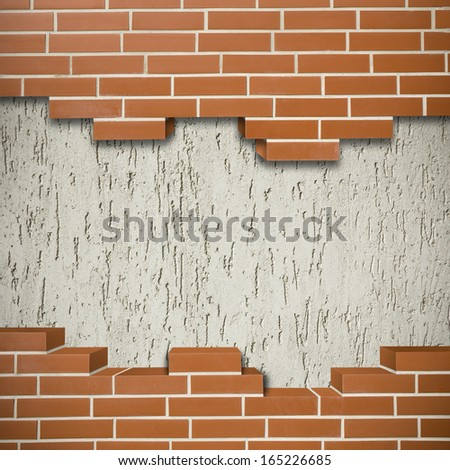 Broken red brickwall with gray mortar wall in the background - stock photo