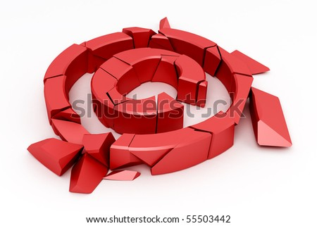 Broken red copyright sign on white - stock photo