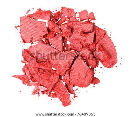 Broken red eye shadow, isolated on white macro - stock photo