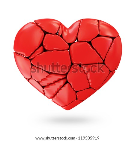 Broken Red Heart isolated on white background - stock photo