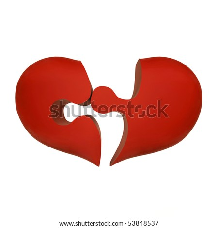 broken red heart puzzle - stock photo