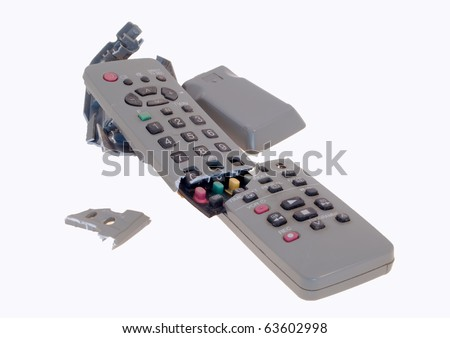 Broken remote control isolated on white - stock photo