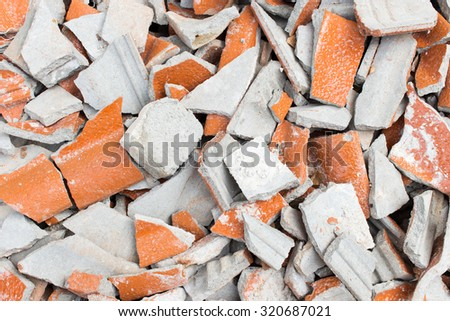 Broken roof tiles - stock photo