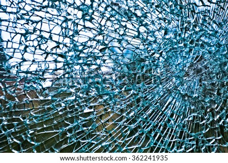 Broken Safety Glass - stock photo