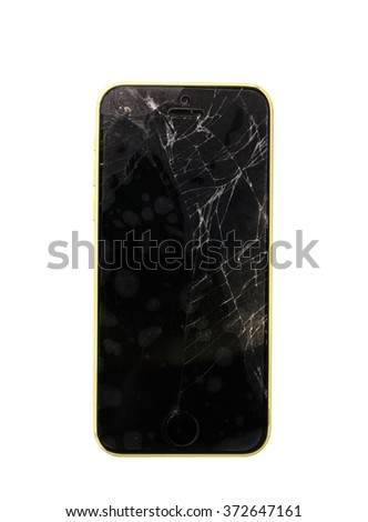 Broken screen mobile phone isolated on background