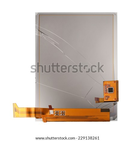 Broken screen of electronic pocket book isolated on white background - stock photo
