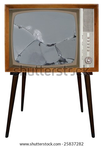 Broken screen of Old Television - stock photo
