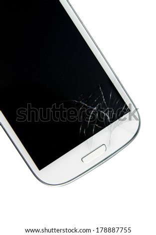 Broken screen smart phone isolated on white background - stock photo