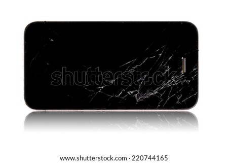 Broken screen smartphone isolated on white background
