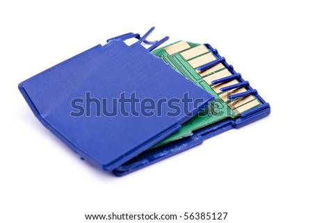Broken SDHC memory card, data loss concept - stock photo