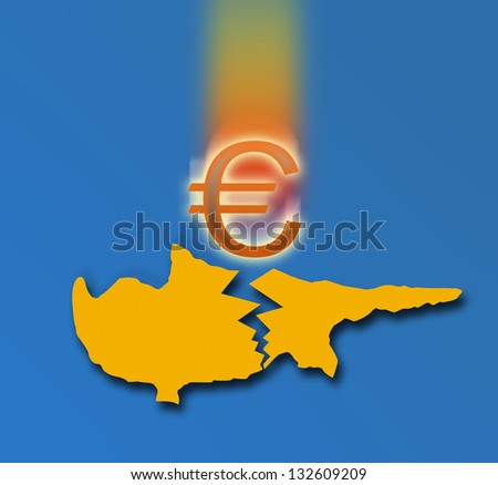 Broken silhouette of Cyprus and the falling Euro sign. On blue background - stock photo